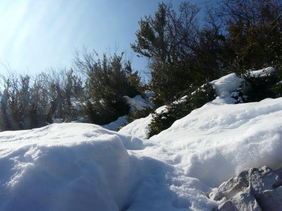 Sentier de descente de la via ferrata du Claps (sous ma neige !)
