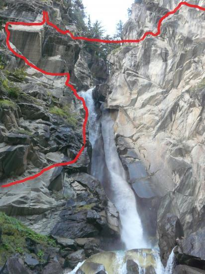 Itineraire de la via ferrata de la cascade de la Fraîche à Pralognan