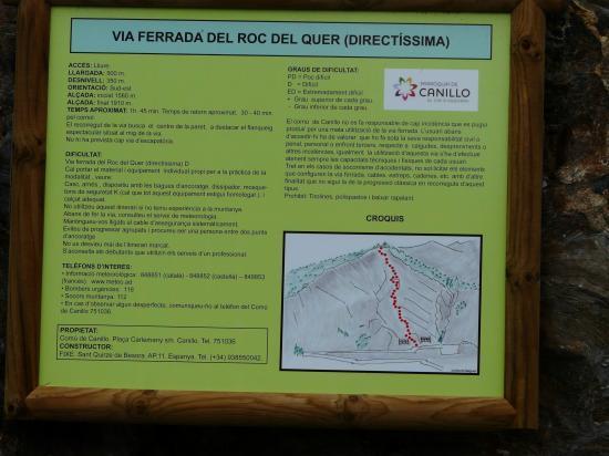 le panneau au départ de la Directissima au dessus d' Ordono