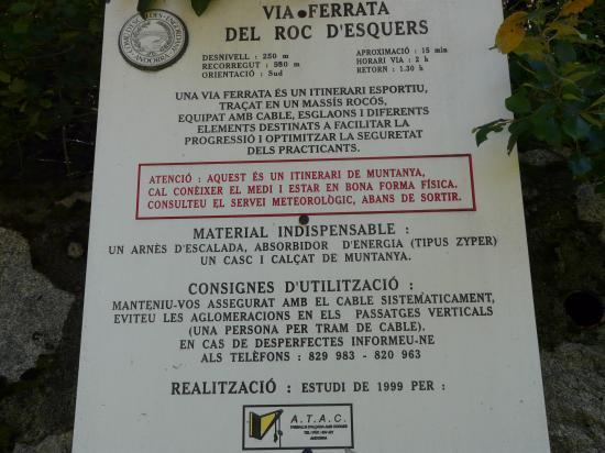 le panneau de la via ferrat d' Escaldes Engordany