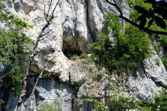 La grotte de la Doria depuis Lovetaz (St Jean d' Arvey) (Savoie)