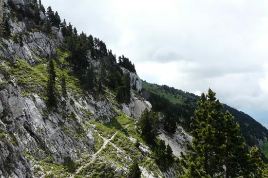 depuis le jardin, le chemin arrive à hauteur de la cheminée accèdant au sommet de chamechaude