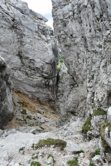 vue depuis le haut haut de la cheminée de chamechaude vers le chemin d' accès
