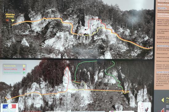 le panneau explicatif de la via ferrata avec les deux parcours typiques des vias de Lozère (jaune et rouge)