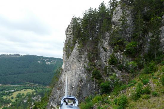 la tyrolienne de Mende (rochers de Moïse)
