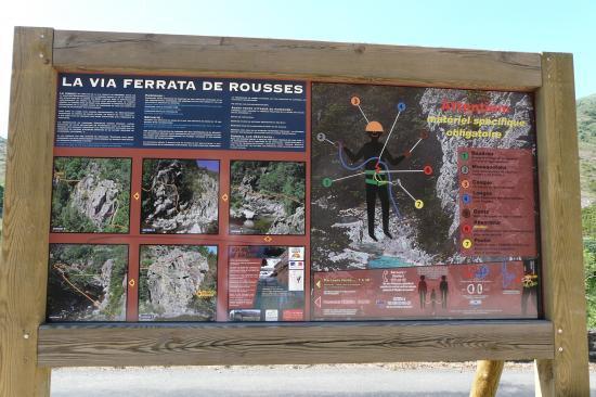 panneau explicatif de la via ferrat de rousses (lozère)