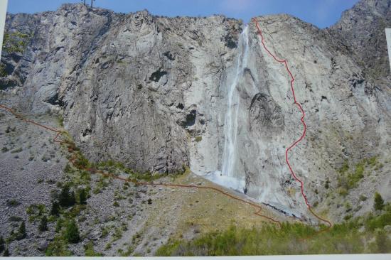 Itineraire de la via ferrata de la cascade de la Pisse à Mizoen