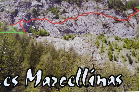 itinéraire de la via ferrata des Marcellinas aux Orres