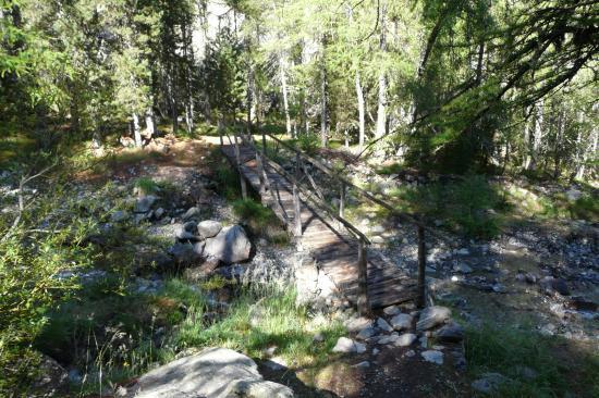 la passerelle du chemin d' accès à la via de la cascade aux Orres