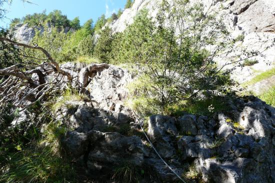 départ de la via ferrata de la cascade aux Orres
