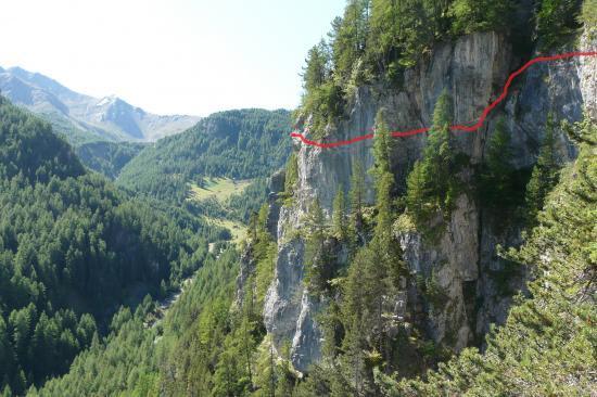 itinéraire aérien de la via de la cascade aux Orres