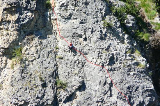 dans la première partie de la via de la cascade aux Orres