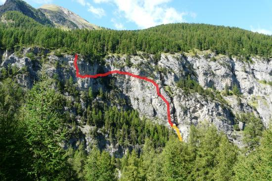 itineraire de la via ferrata de la cascade aux Orres