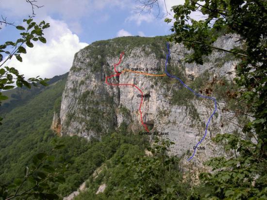 Les itinéraires  grotte à Caret et Pchti