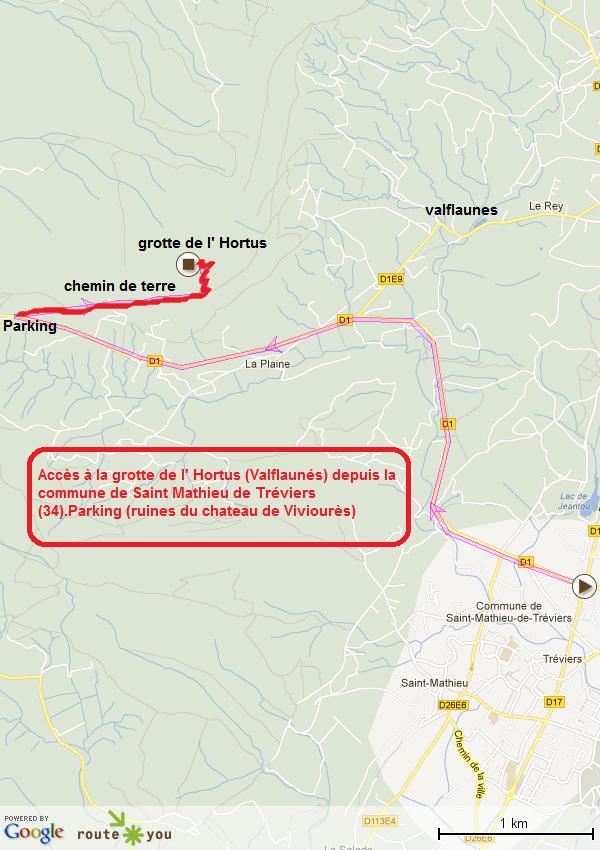 accès grotte de l' Hortus (Valflaunés) depuis Saint Mathieu-Tréviers