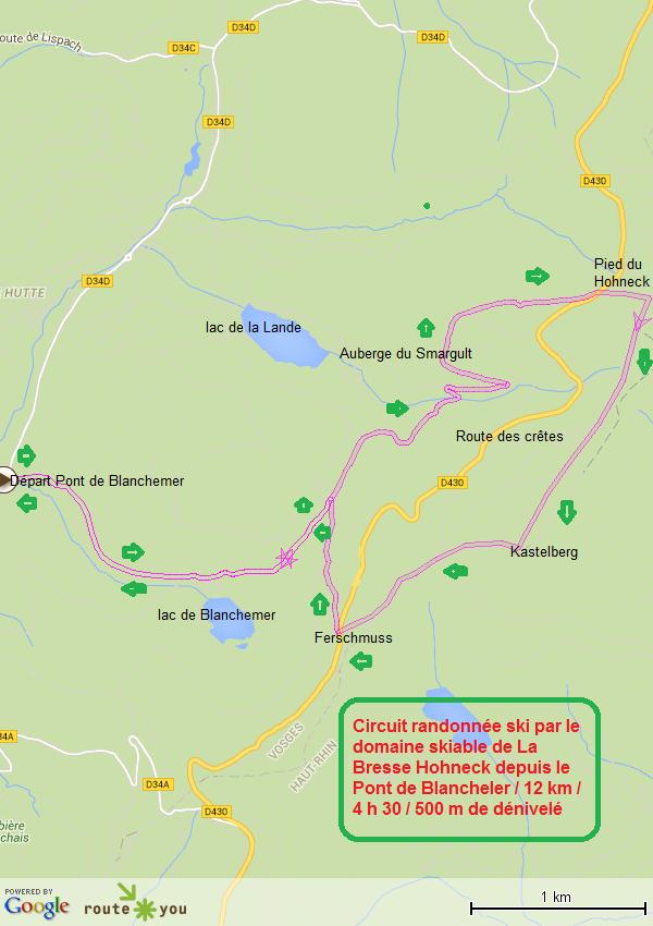Circuit rando ski pied du hohneck kastelberg depuis le pont de blanchemer
