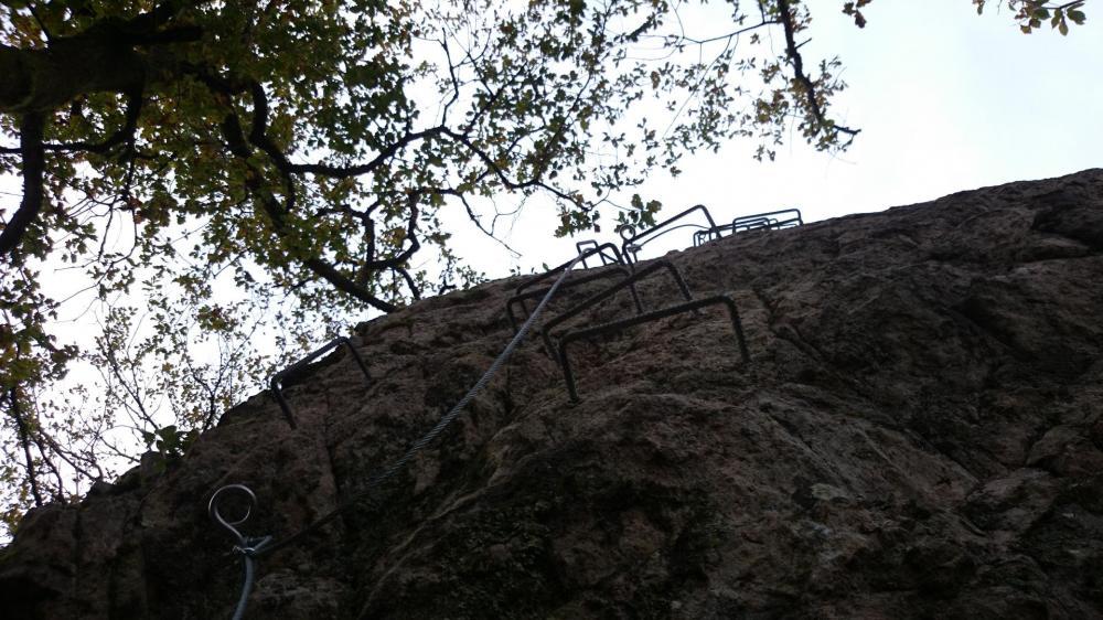 Bonne verticale avec un passage légèrement déversant dans l' atelier 3 à la via de la Dordogne