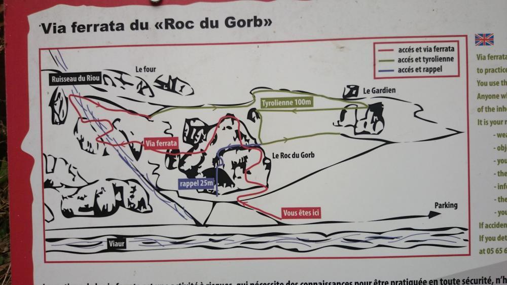 Itinéraire de la via ferrata du Roc du Gorb