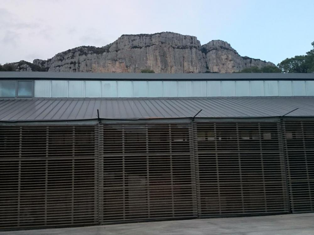 Les installations du domaine de l' Hortus sour la montagne du même nom !