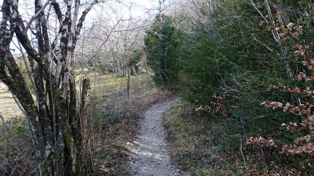 Pech de Bugarach ...le sentier transversale sous le massif, qui rejoint le col de Linas