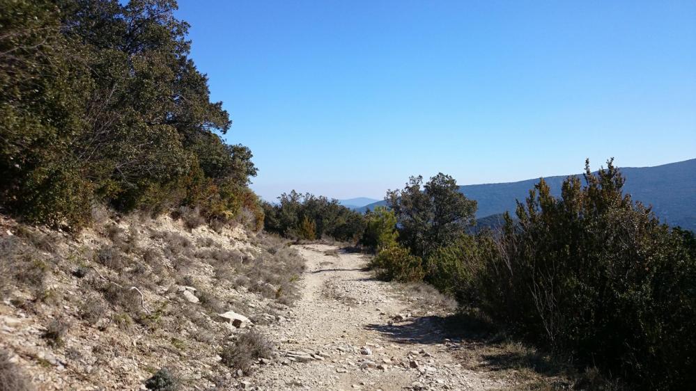 on rejoint la piste qui mène au pied du pic d'Anjeau