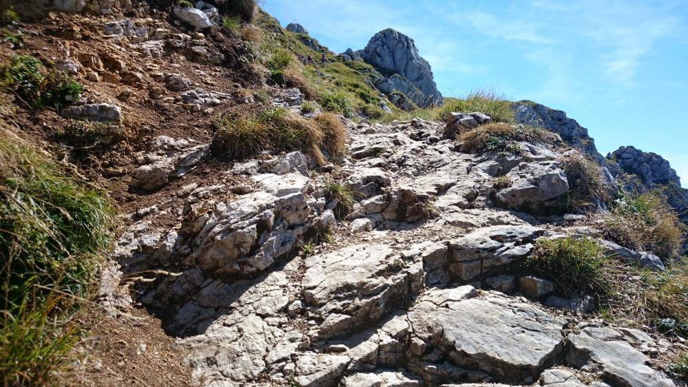 Partie rocheuse de la montée au Mont Trélod