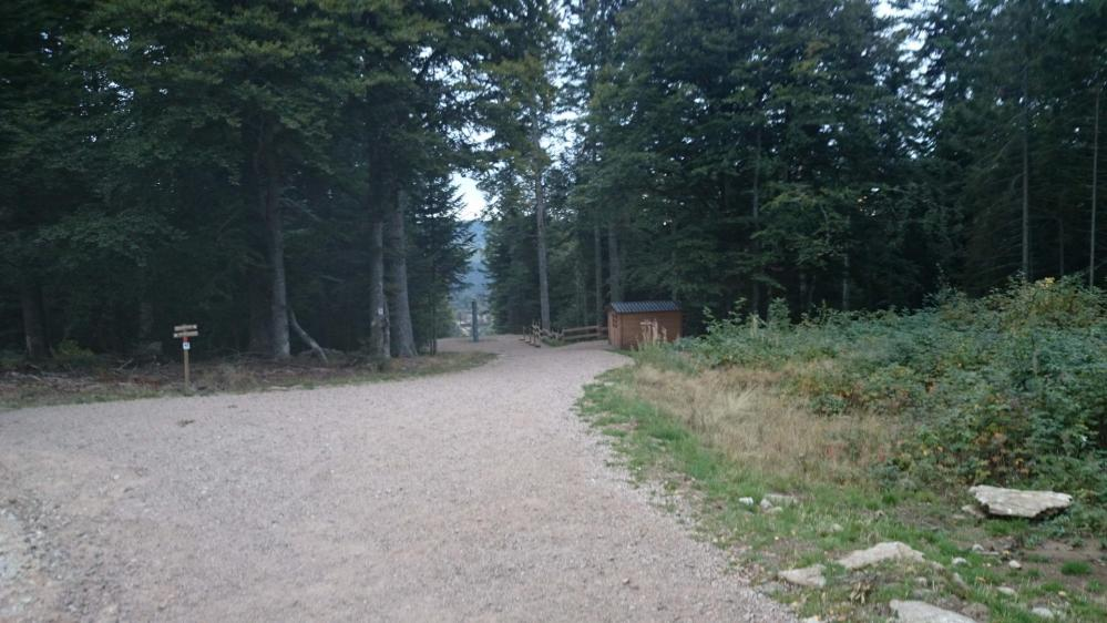 Départ de la grande tyrolienne encadrée à droite, sentier via ferrata à gauche