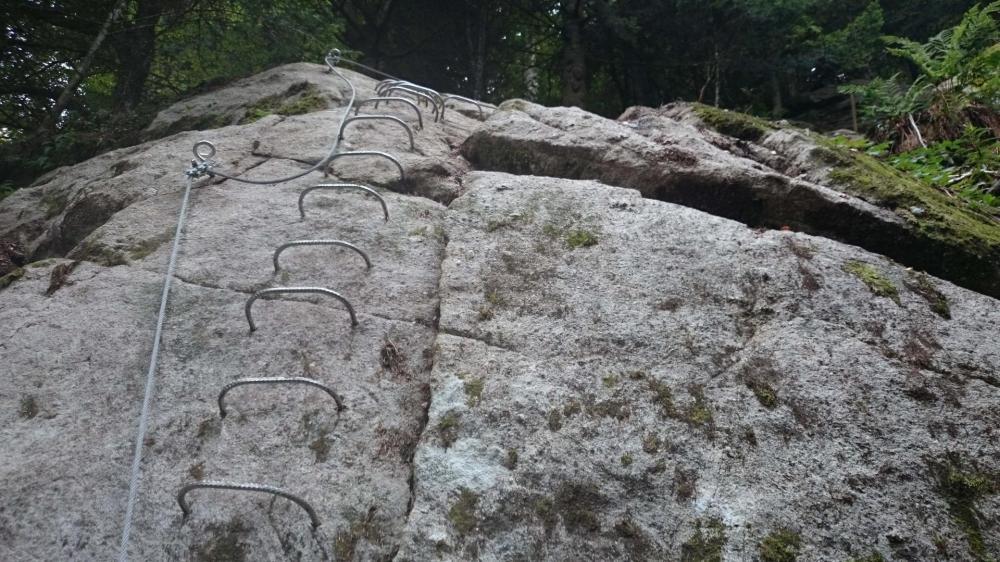 Dernier mur de la via ferrata des rochers du Ronzier