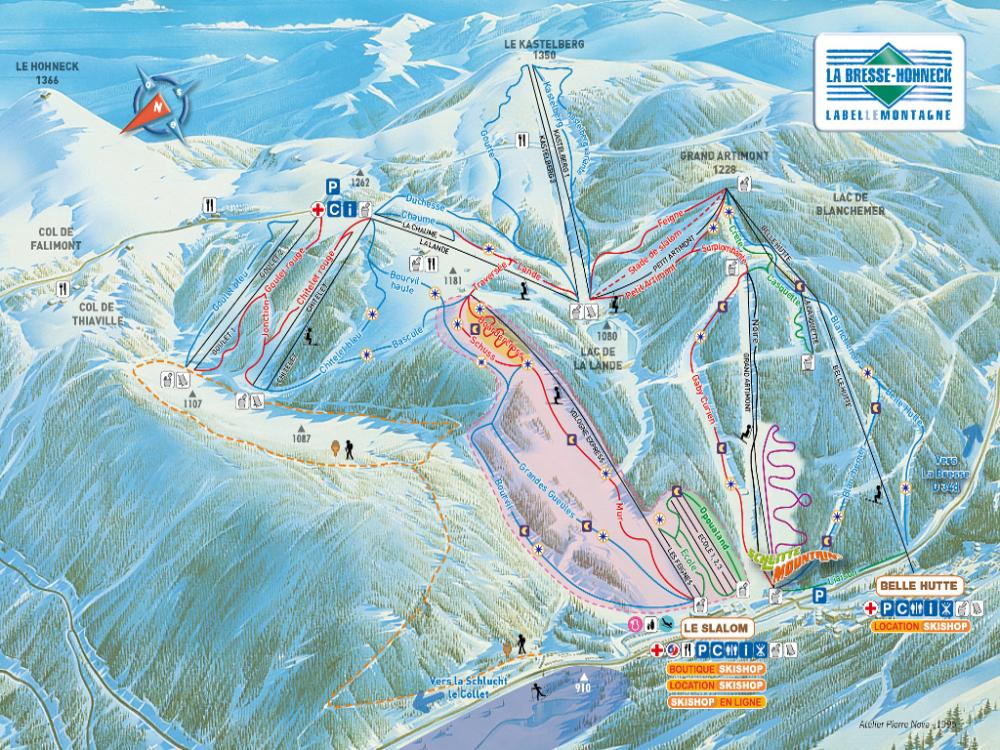 Pistes et remontées de la station de ski de La Bresse (Vosges)