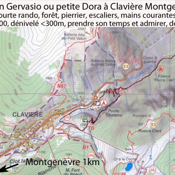 Pont tibétain des  gorges San Gervasio à claviere, un des points de départ de la via ferrata del Rocca Clari