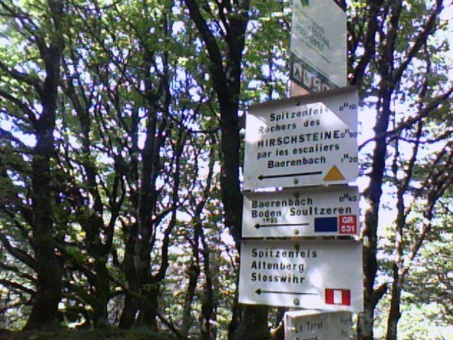 la pancarte indicatrice du départ du sentier du Hirschsteine