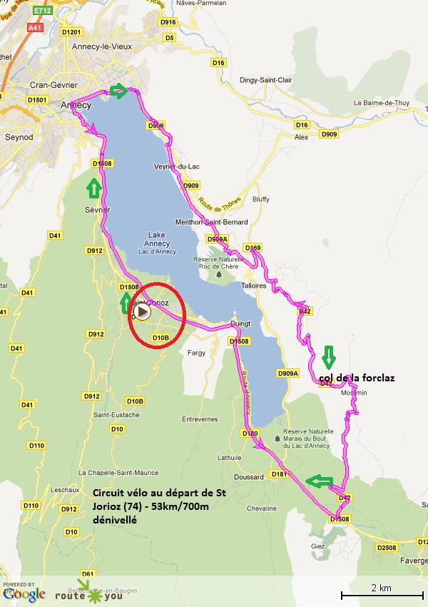 circuit vélo tour du lac d' Annecy par le col de la Forclaz