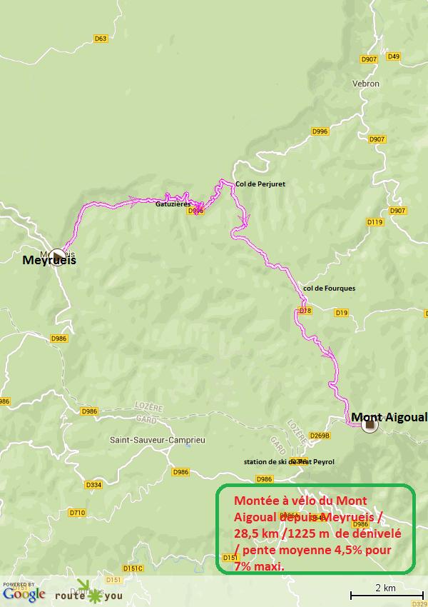 Montee a velo du mont aigoual depuis Meyrueis