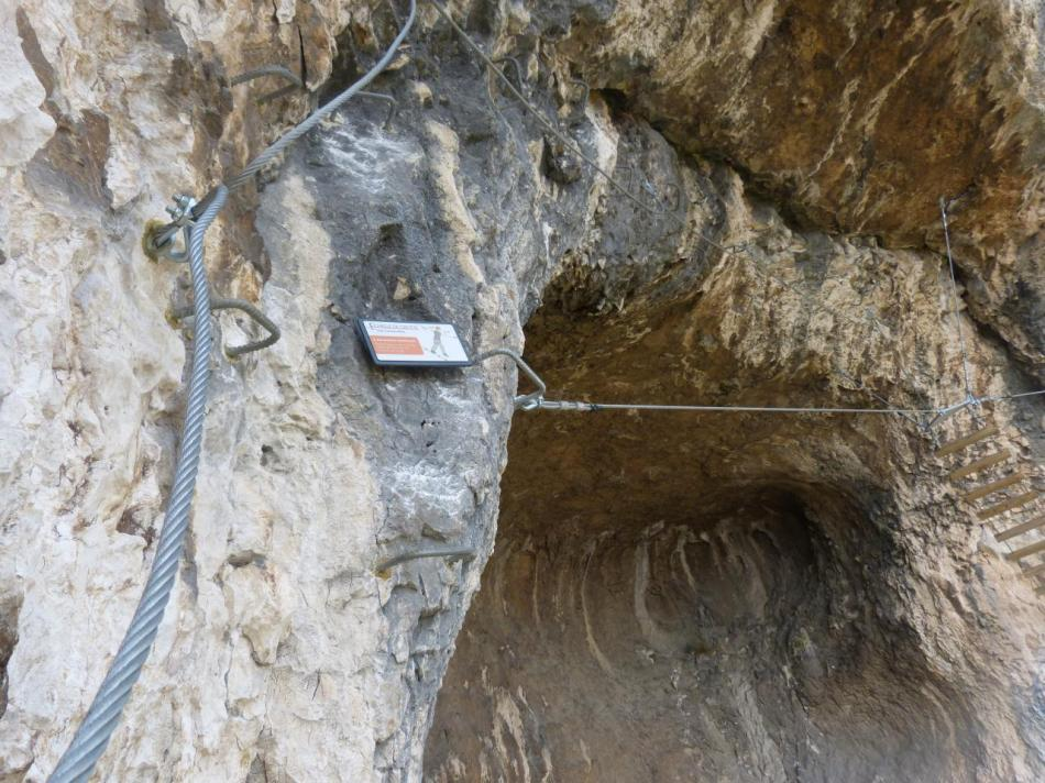 le pont de singe et son échelle dans la grotte des baumes de Combarelles