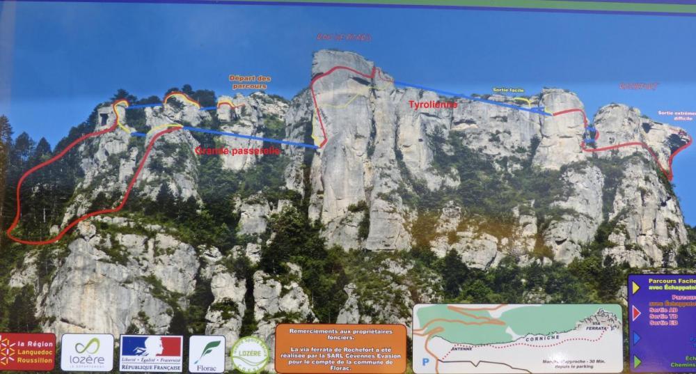 vue d' ensemble des itineraires de la via ferrata (côté Florac)