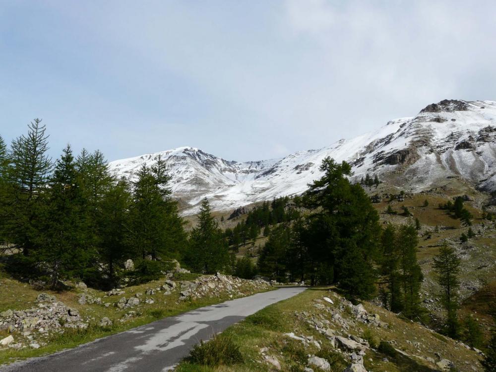 La route qui monte de St Dalmas le Selvage vers le col de Restefond et le col de la Bonette