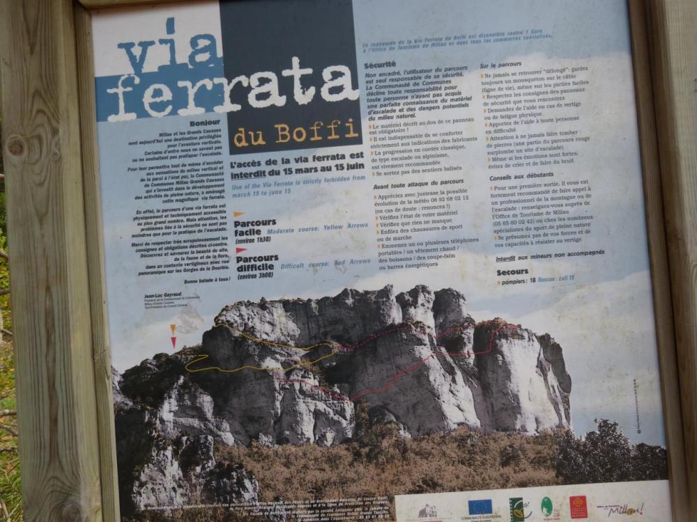 Panneau d' info via ferrata du Boffi