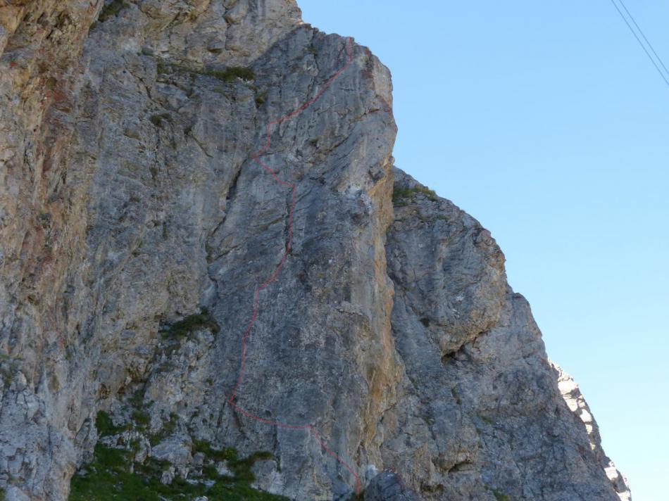le mur de départ de la via facile  au rocher blanc (Serre Chevalier)