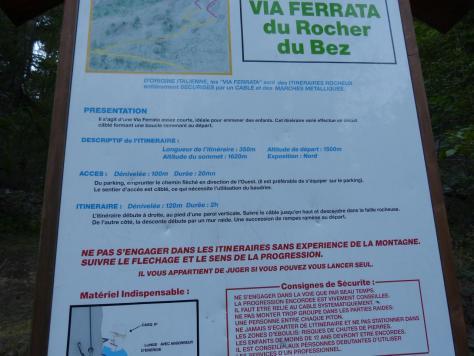 panneau d'information de la via ferrata du rocher du bez (parcours 1)