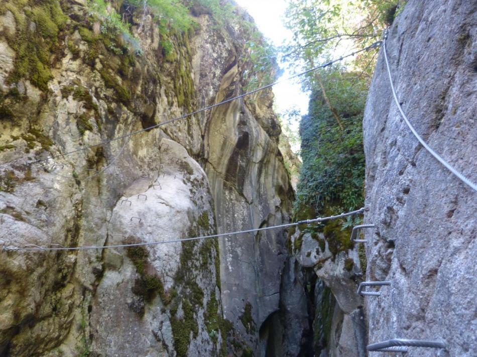 pont de singe pour  passer en rive droite dans la deuxième partie de la via des gorges d'Ailefroide