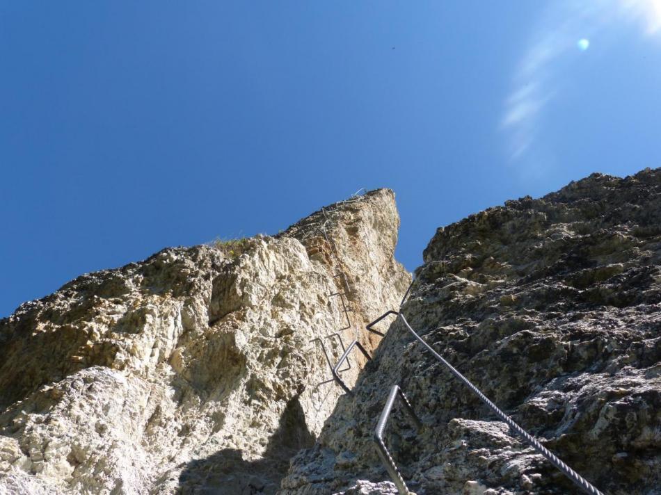 la via ferrata des Bettières - le grand pilier, impressionnant mais pas très difficile !