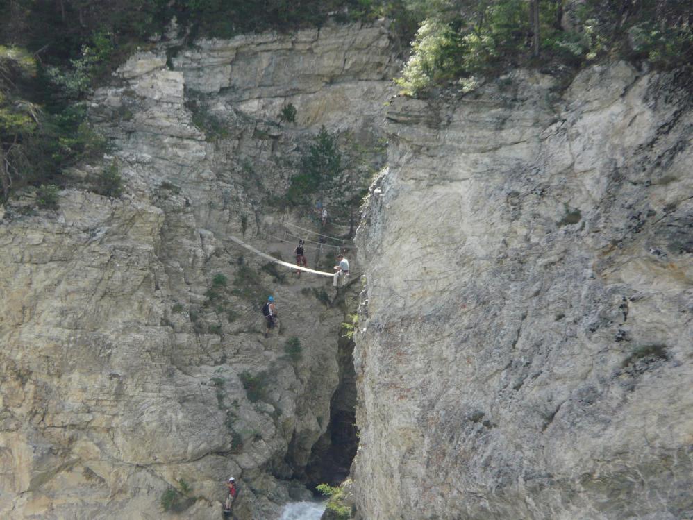 La passerelle de sortie de la via de la Vierge à Aussois