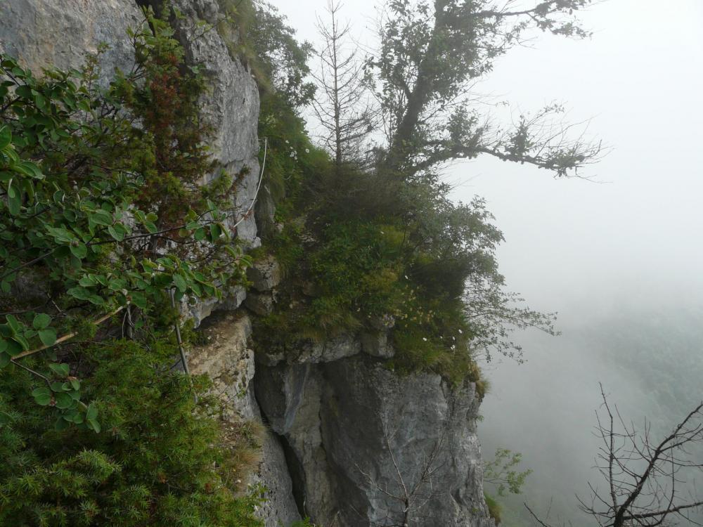 via ferrata, sortie de la grotte du maquis