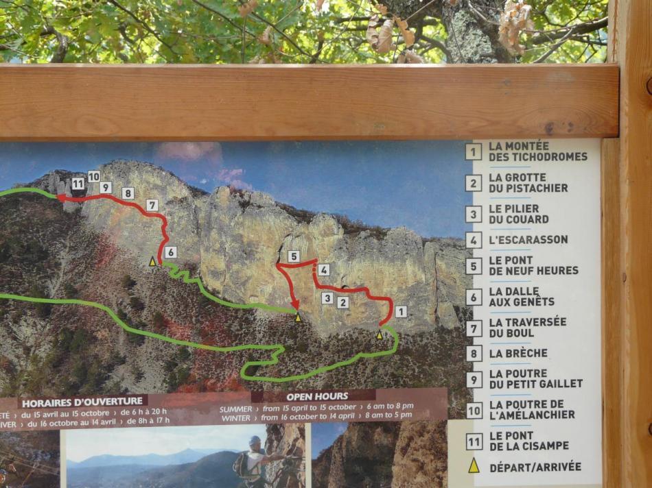itineraire de la via du rocher de 9 heures à Digne