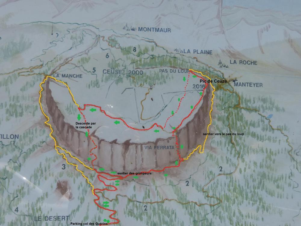 Les itinéraires en circuit possibles empruntant ou non la via ferrata pour gravir le pic de Céüze depuis le col des Guérins