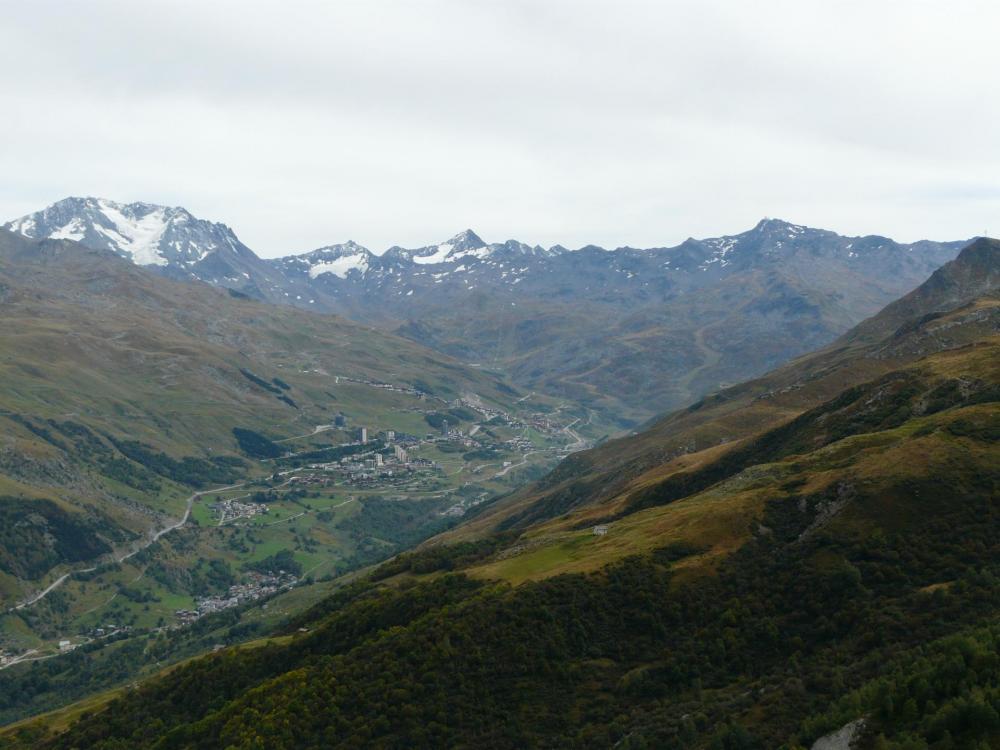 belle vue sur Val Thorens depuis la via du Cochet