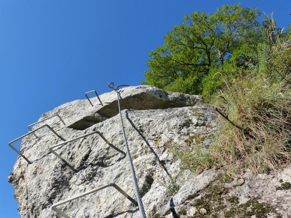 Sortie de la première partie verticale de la via de la Chal