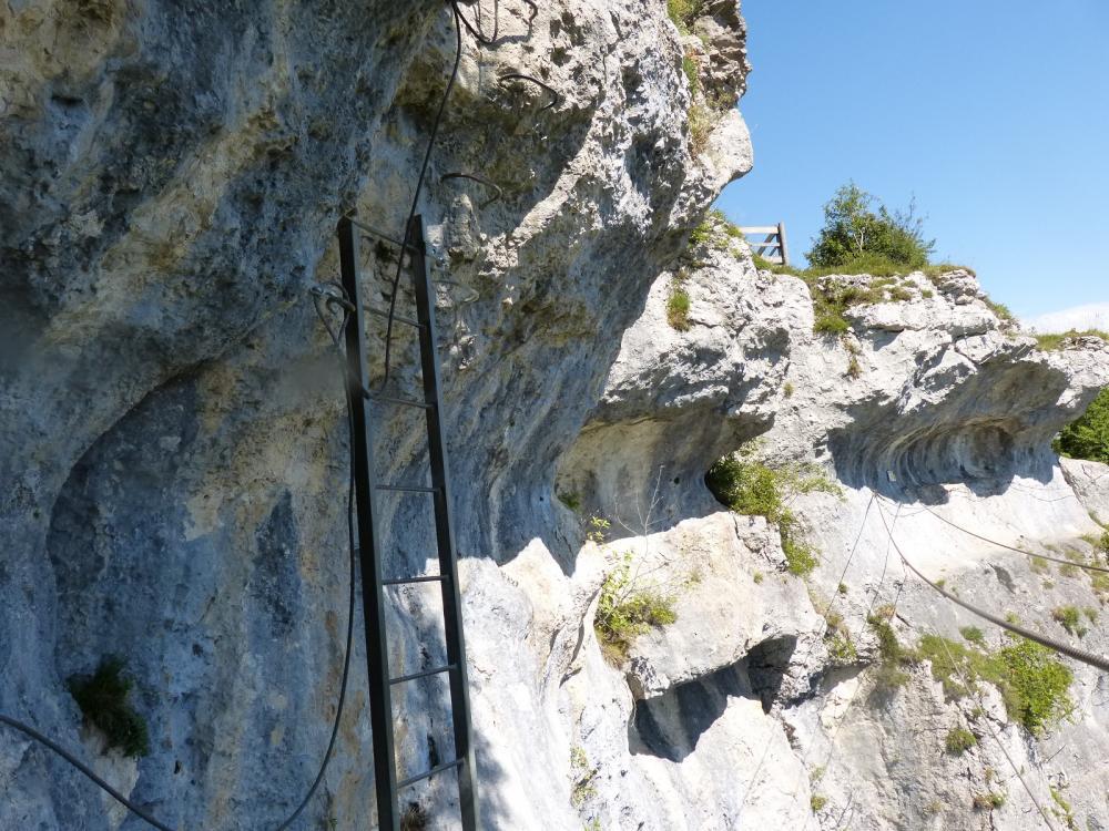 Via ferrata du rocher du Mont à Ornans ... L' échelle de sortie !
