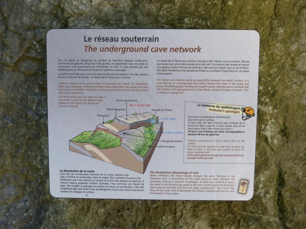 panneau d' information dans la traversée souterraine de la tanne du névé à Aillon le Jeune