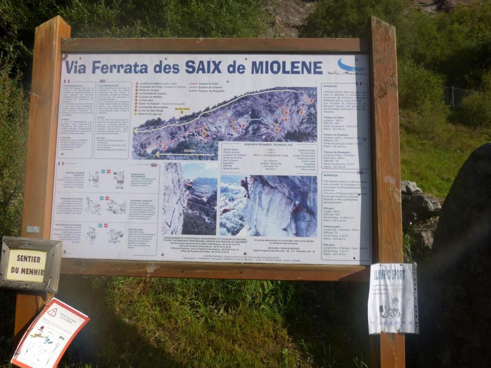 Panneau d' information de la via ferrata des saix de Moliène